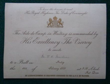 Antique Royal Invitation to a Ball Hosted Duke of Connaught Viceroy India 1921
